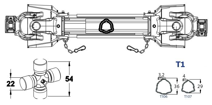 KARDAN 22X54 L-650 BEZ PLASTIKE SK